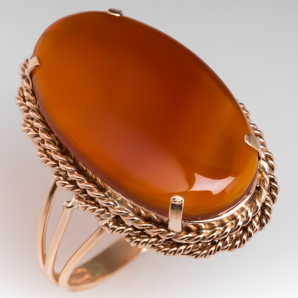 Delicate Vintage 14K Rose Gold Carnelian Agate Cocktail Ring