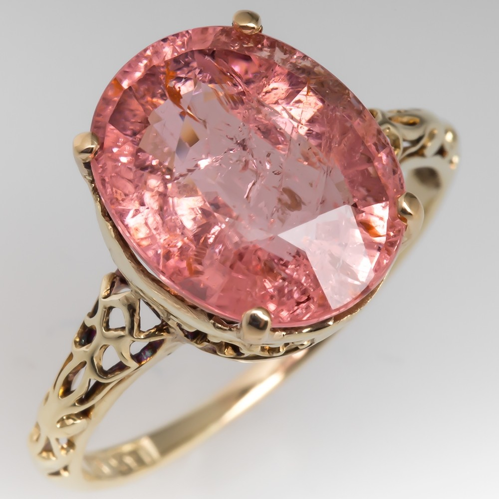 4 Carat Oval Pink Tourmaline Cocktail Ring Filigree 14K Yellow Gold Solitaire