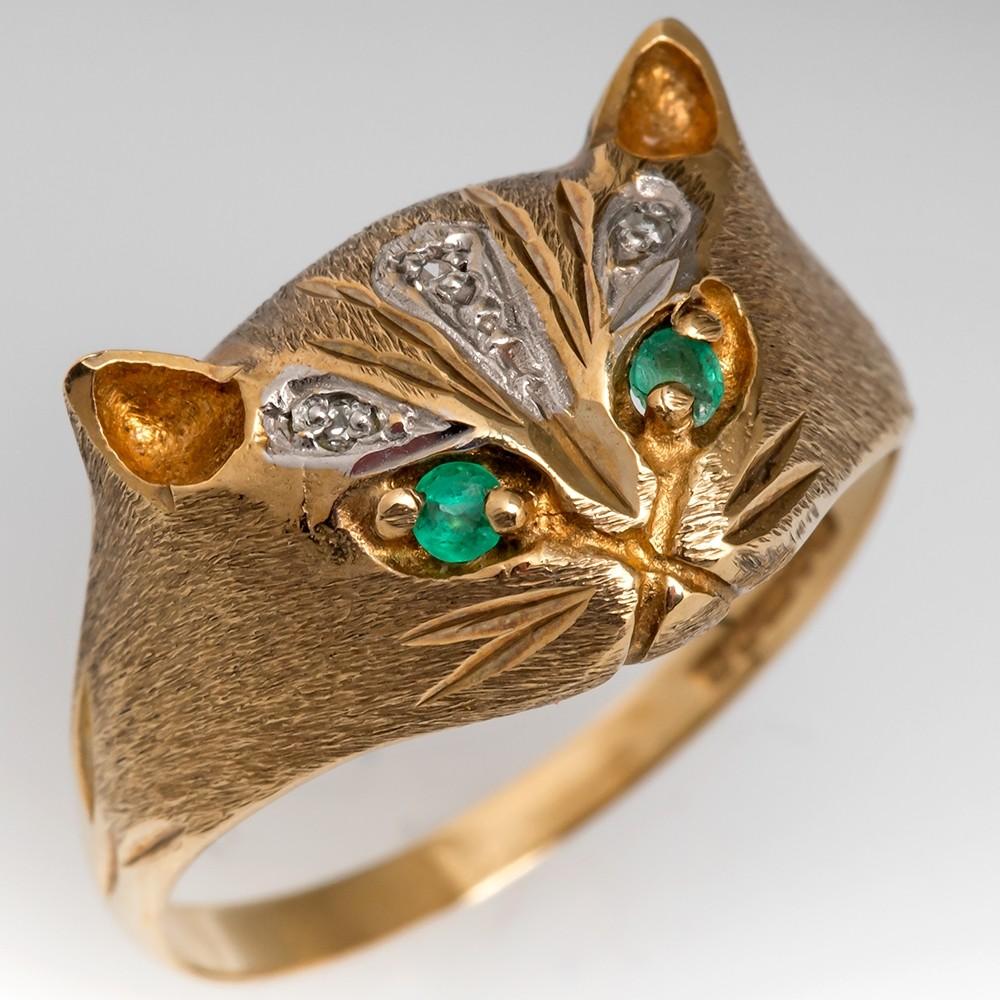 Vintage Cat Ring Emerald Eyes & Diamond Details 9K Gold
