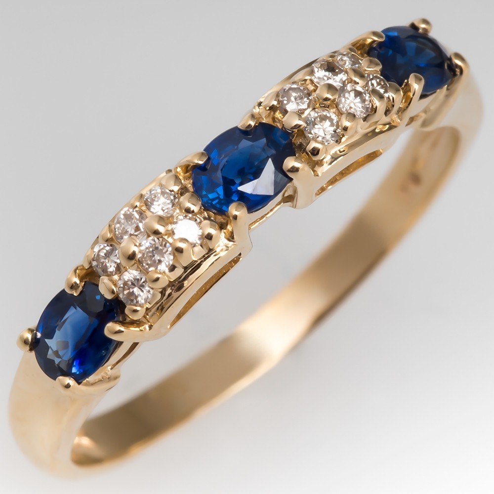 September Birthstone Blue Sapphire & Diamond Band Ring 14K Yellow Gold