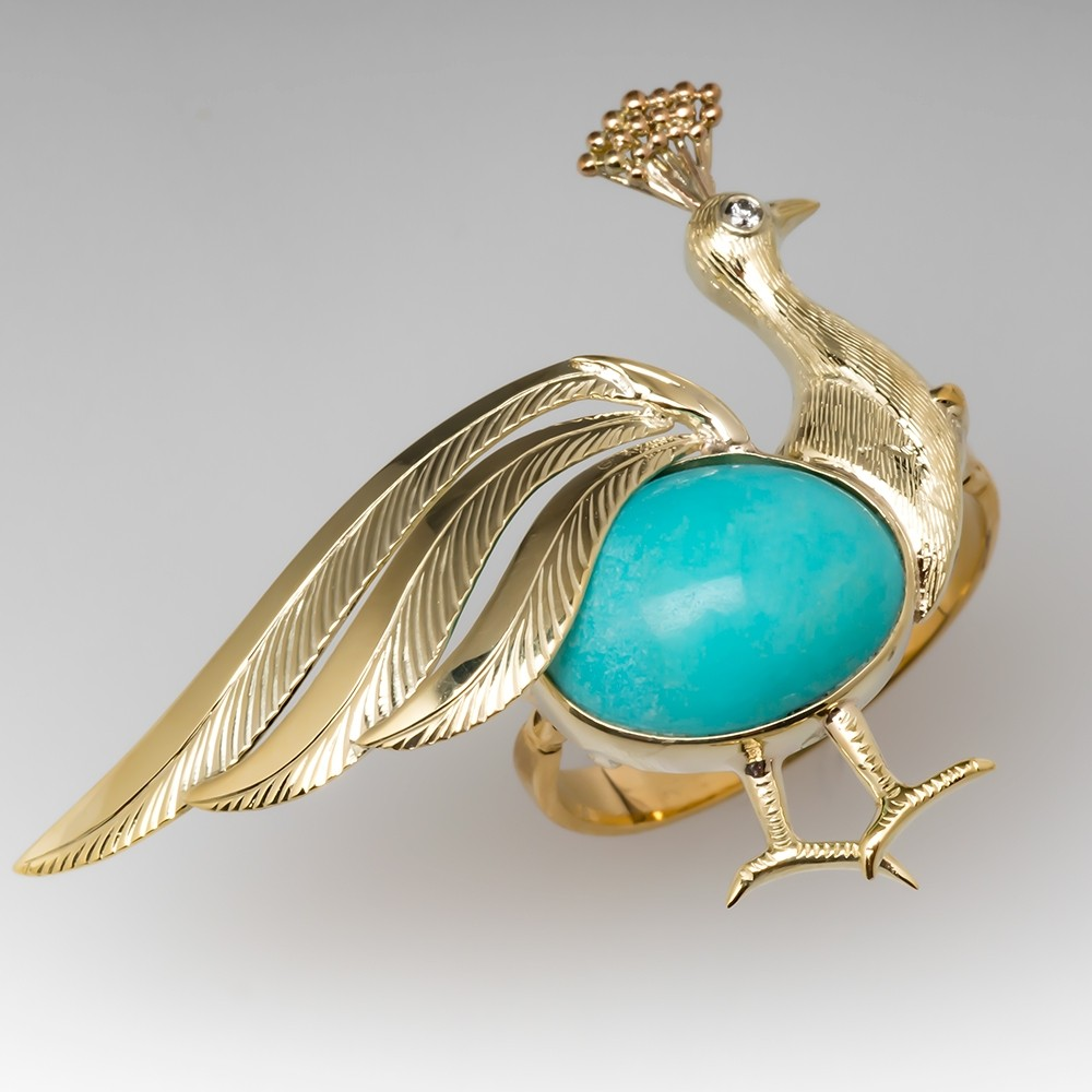 Highly Detailed Peacock Ring Turquoise & Diamond 18K