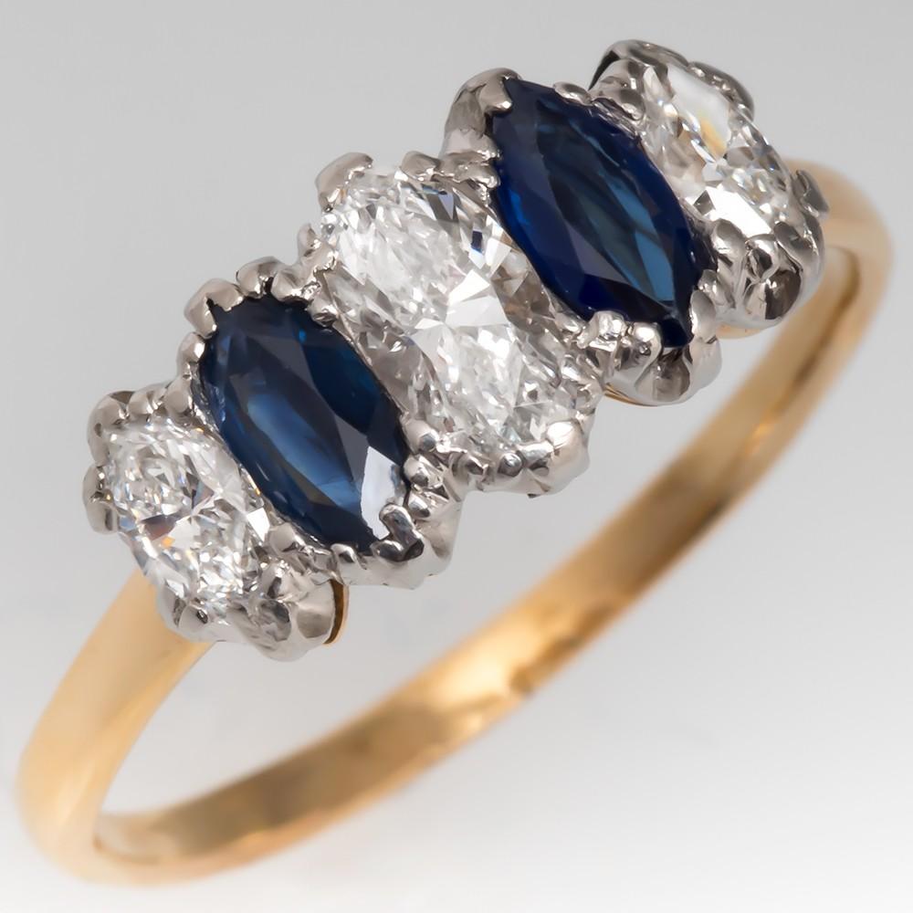 Marquise Diamond & Blue Sapphire Vintage 5-Stone Ring 18K & Plat