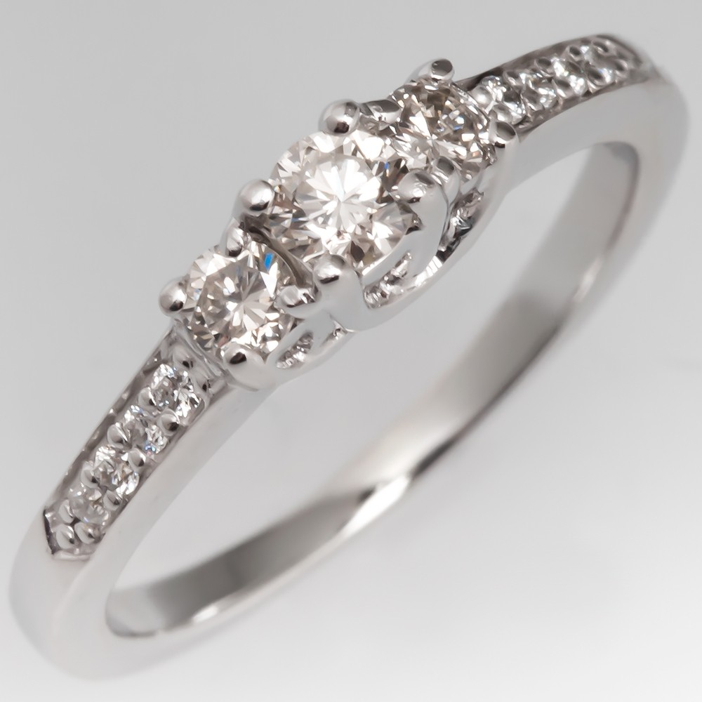 Petite Modern Three Stone Diamond Engagement Ring 14K White Gold, Size 4.75