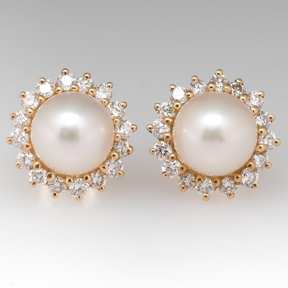Pearl & Diamond Stud Earrings 14K Yellow Gold Medium Size