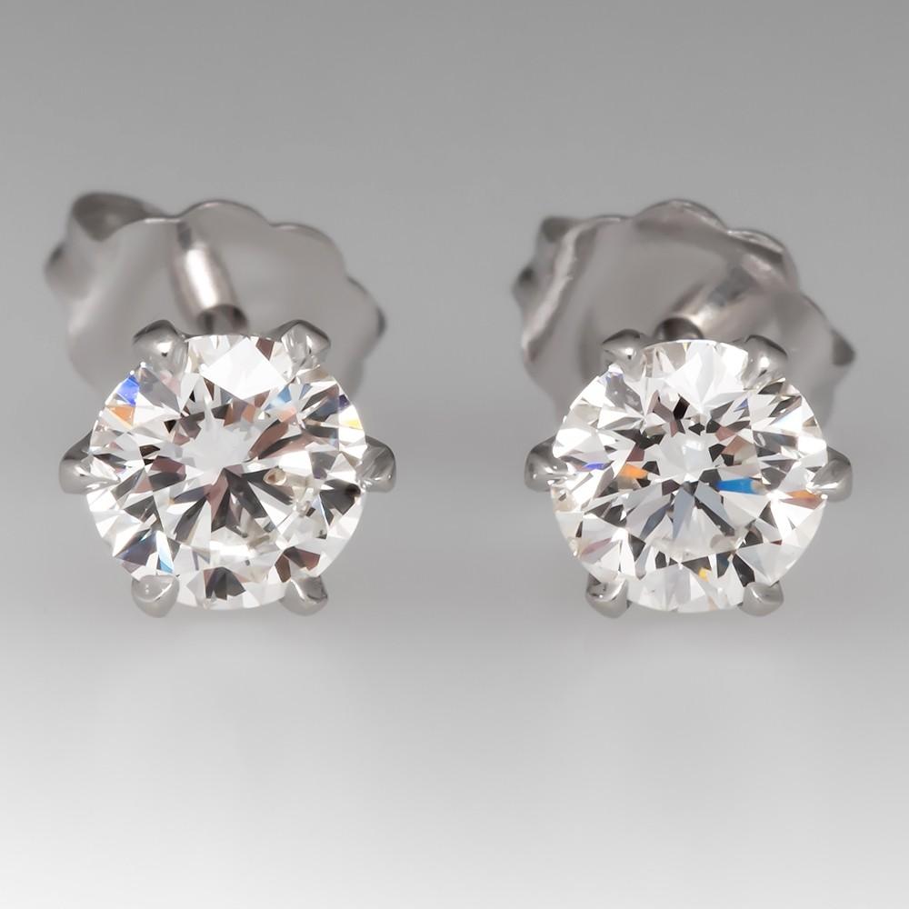 GIA 1 Total Carat H/SI1 Diamond Stud Earrings 6-Prong Crowns