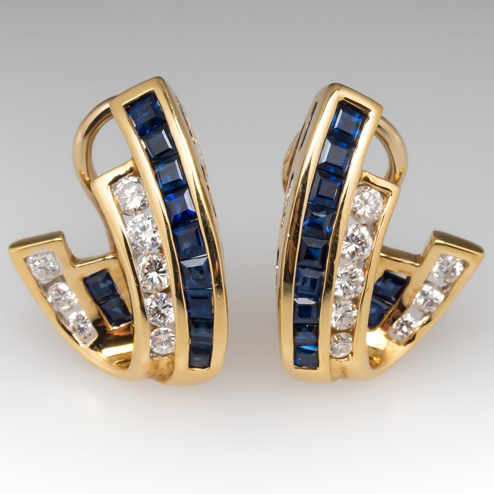 Retro Sapphire & Diamond Huggie Earrings 18K Gold
