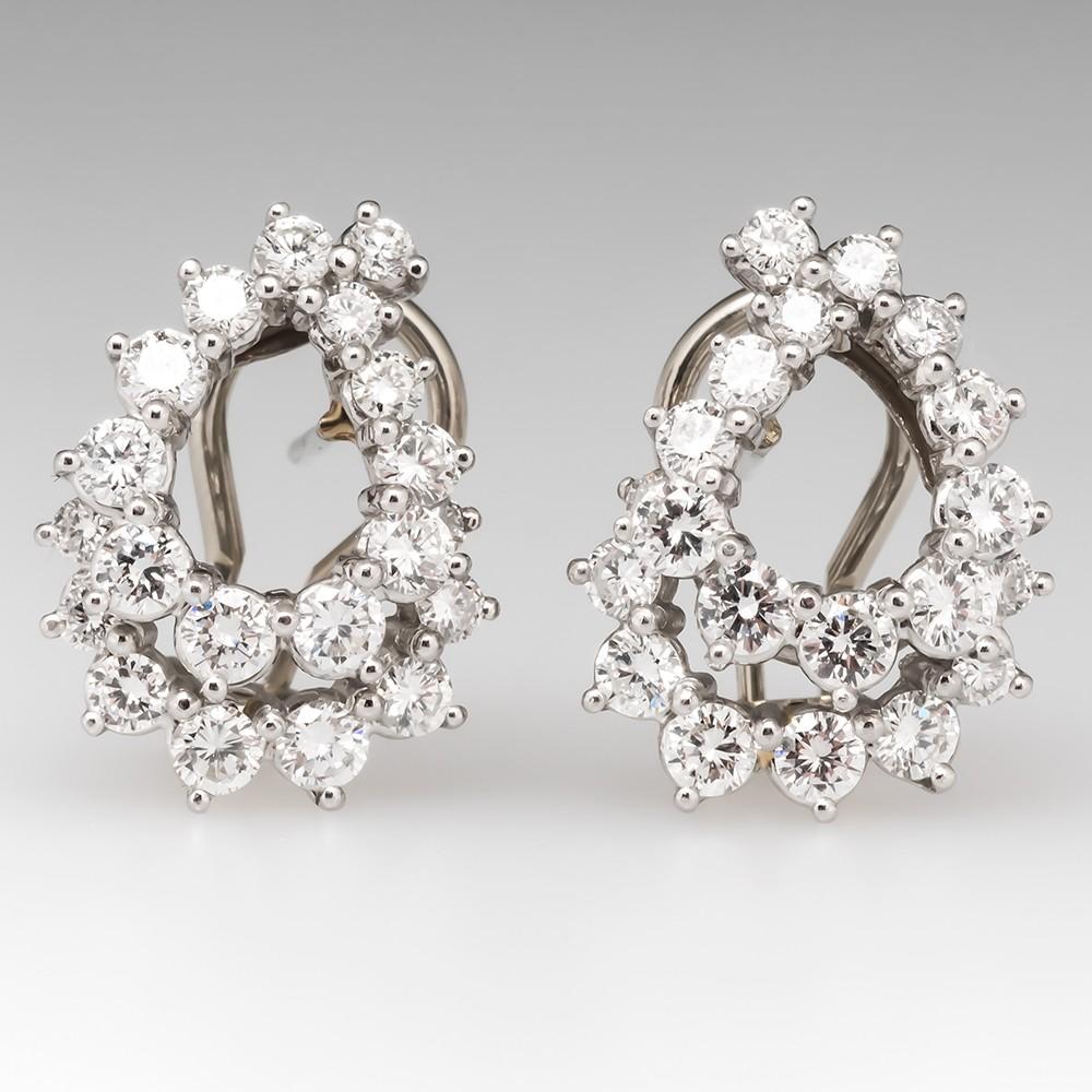 Angela Cummings 2 Carat Diamond Huggie Earrings Platinum & 14K