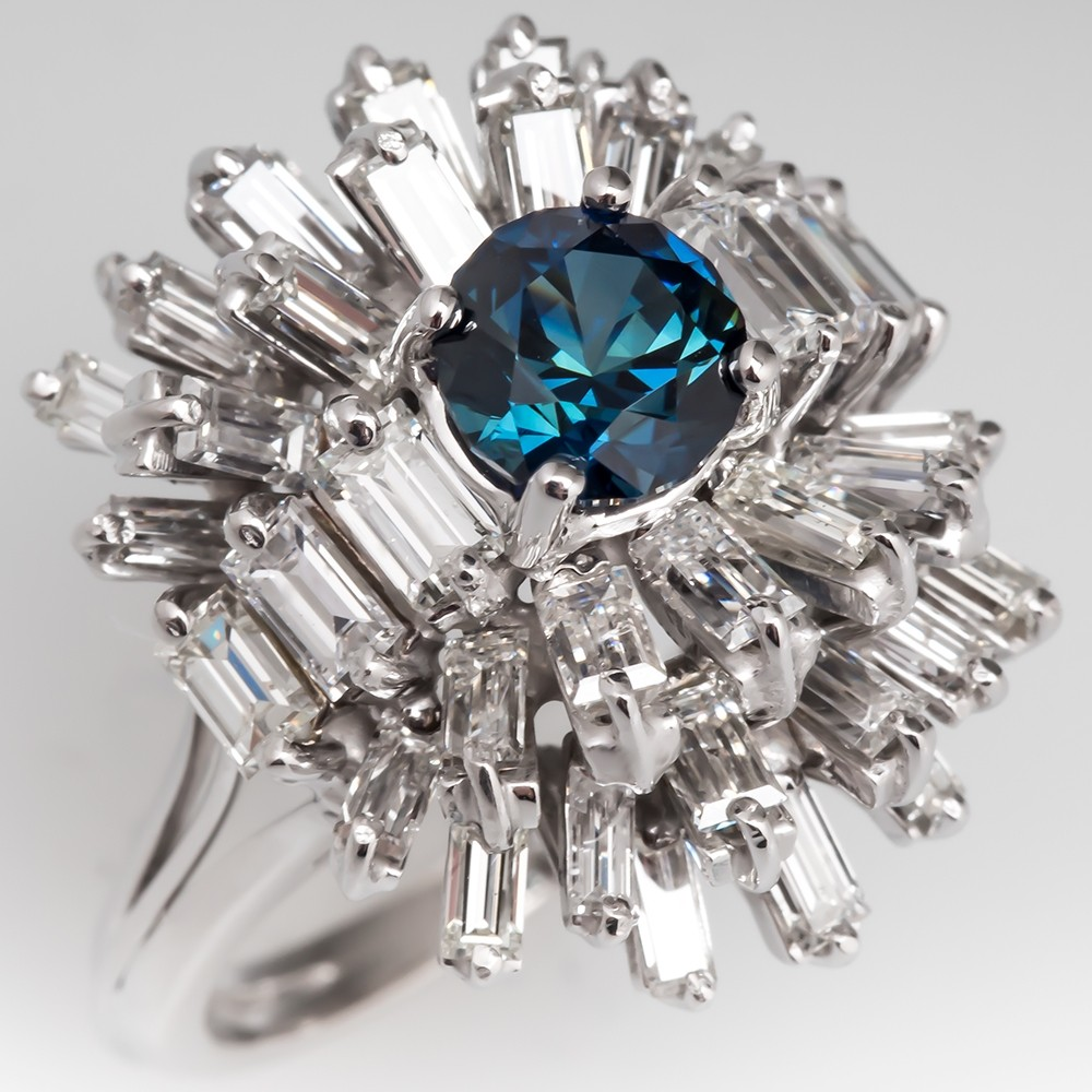 No Heat Blue Green Sapphire & Diamond Ballerina Cocktail Ring 18K