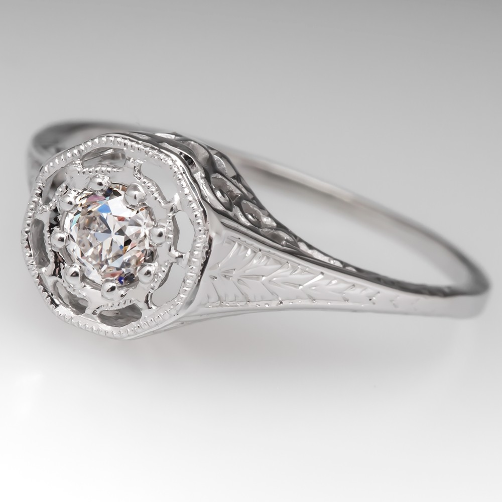 Vintage Old Euro Diamond Filigree Engagement Ring 18K White Gold
