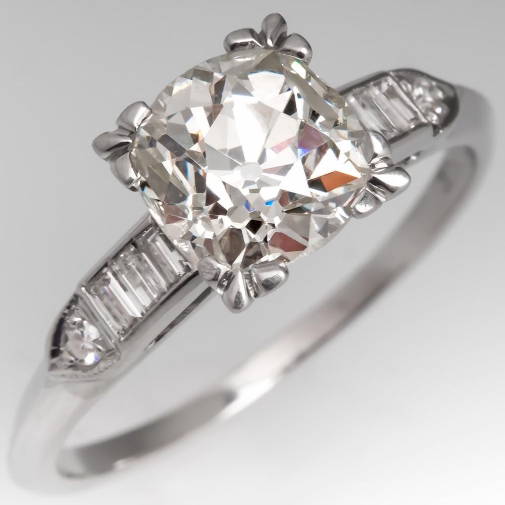 2 Carat Heirloom Old Mine Cut Diamond Engagement Ring