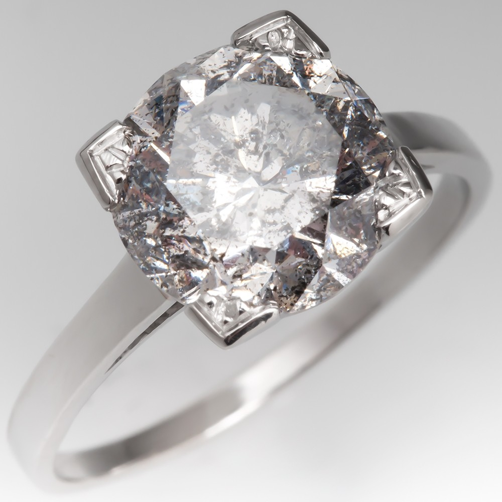 3 Carat Diamond Solitaire Engagement Ring Platinum 3.69CT F/I2