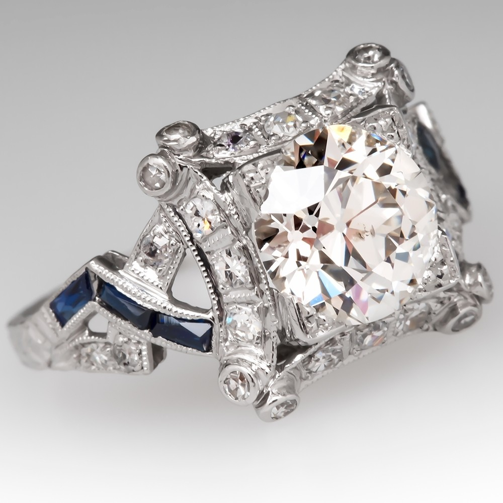 Art Deco Engagement Ring Old Euro Diamond w/ Sapphires Platinum