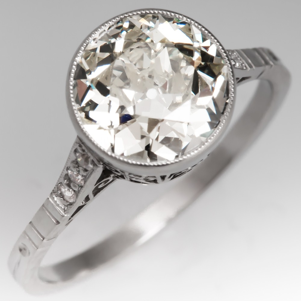 1920's Old European Cut 2 Carat Diamond Bezel Engagement Ring Platinum