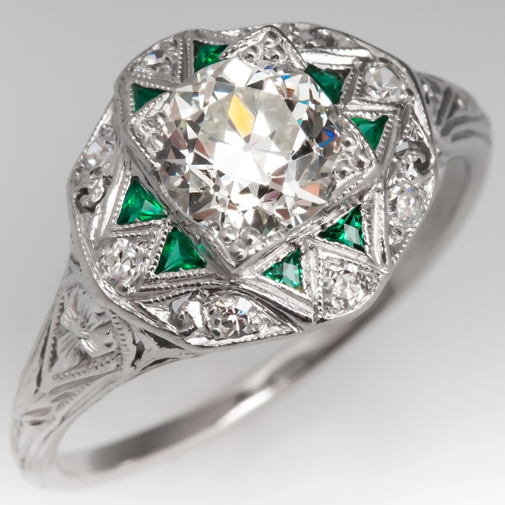 Art Deco Diamond Engagement Ring w/ Green Accents Platinum
