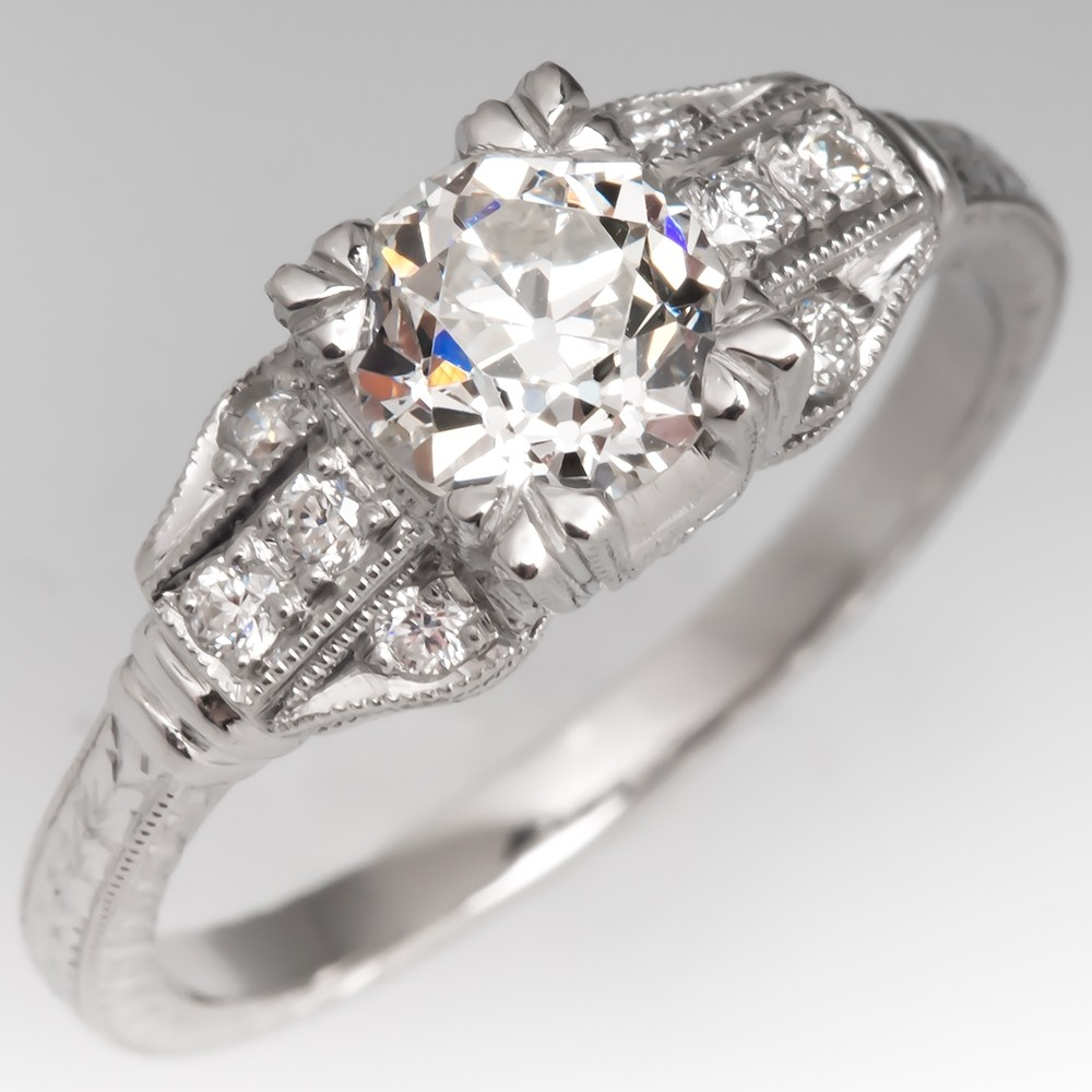 GIA I/SI1 Old Euro Diamond Engraved Engagement Ring Platinum