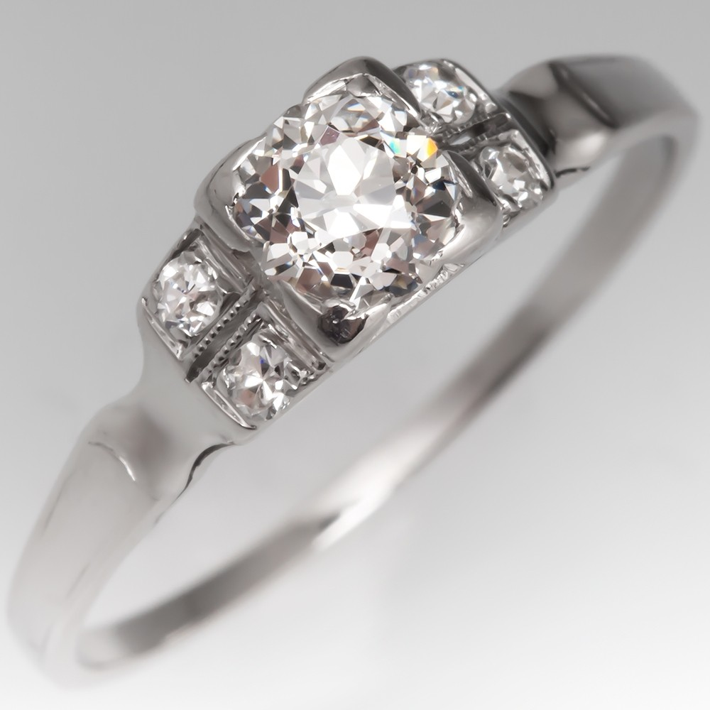 Detailed 1930's Engagement Ring Old Euro Diamond Platinum