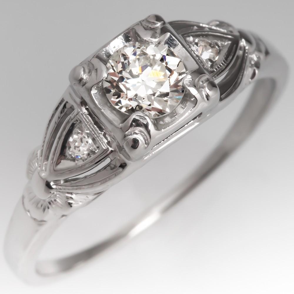 Vintage Old European Cut Diamond Engagement Ring 18K