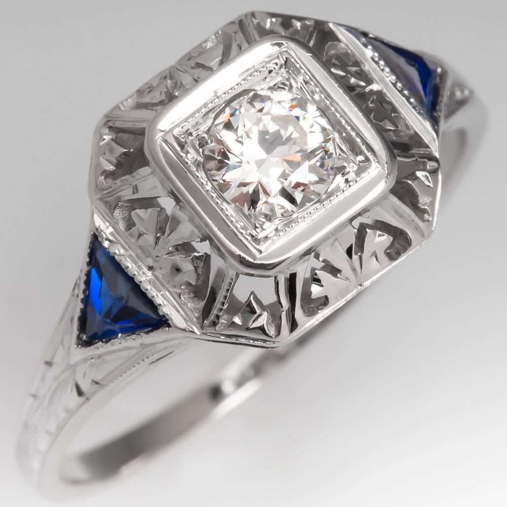 Art Deco Filigree Engagement Ring Transitional Cut Diamond w/ Sapphires
