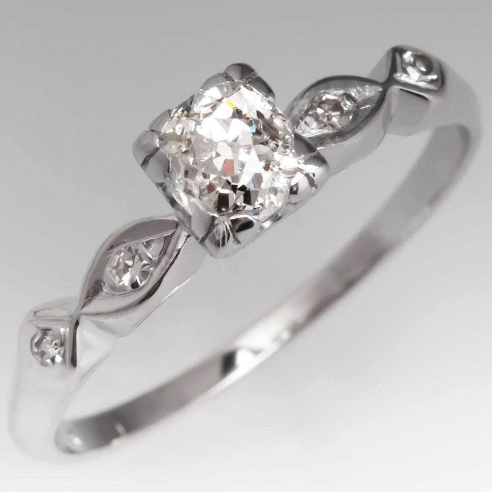 Heirloom Old Mine Cut Diamond Vintage Engagement Ring 14K