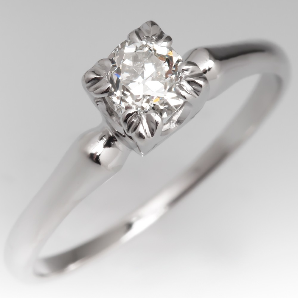 Vintage Old Euro Diamond Solitaire Engagement Ring in Platinum