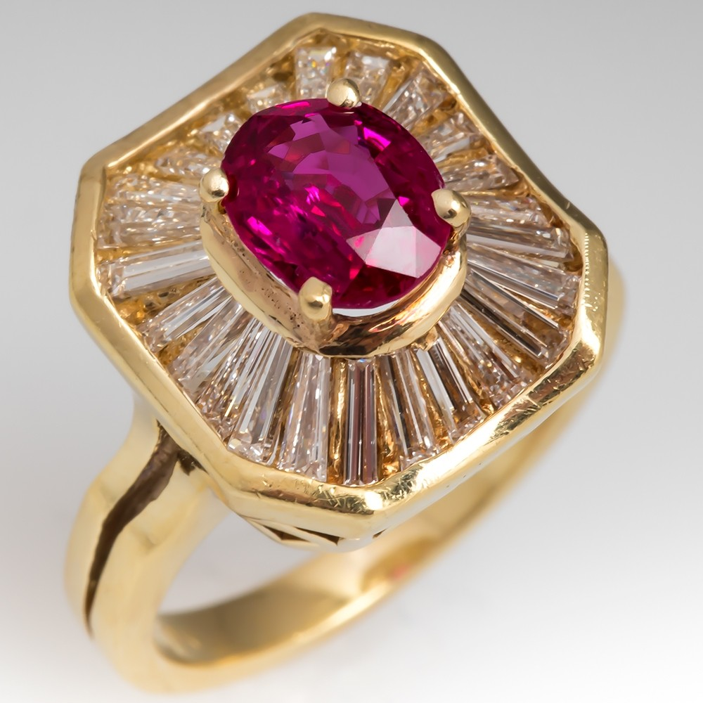 Retro Ruby & Diamond Ballerina Cocktail Ring 18K Gold