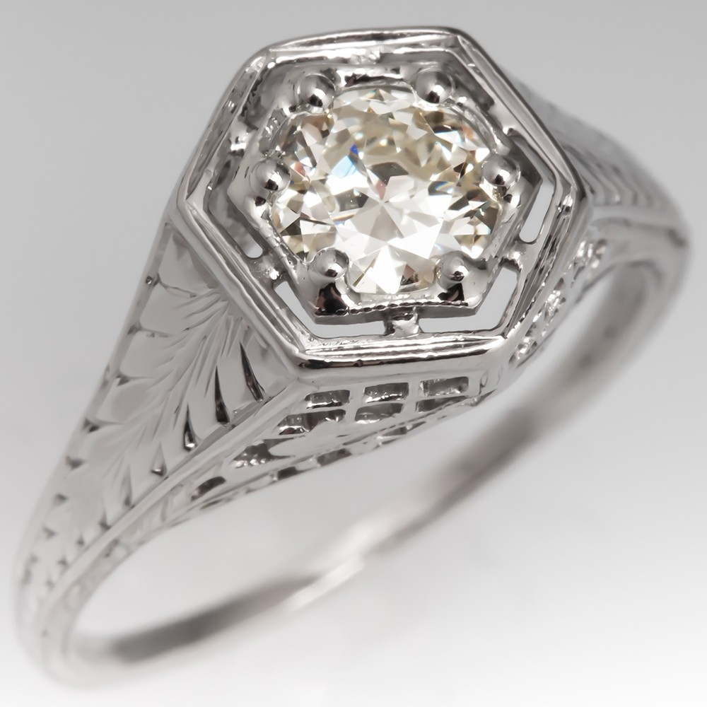 1930's Filigree Engagement Ring Transitional Cut Diamond Platinum