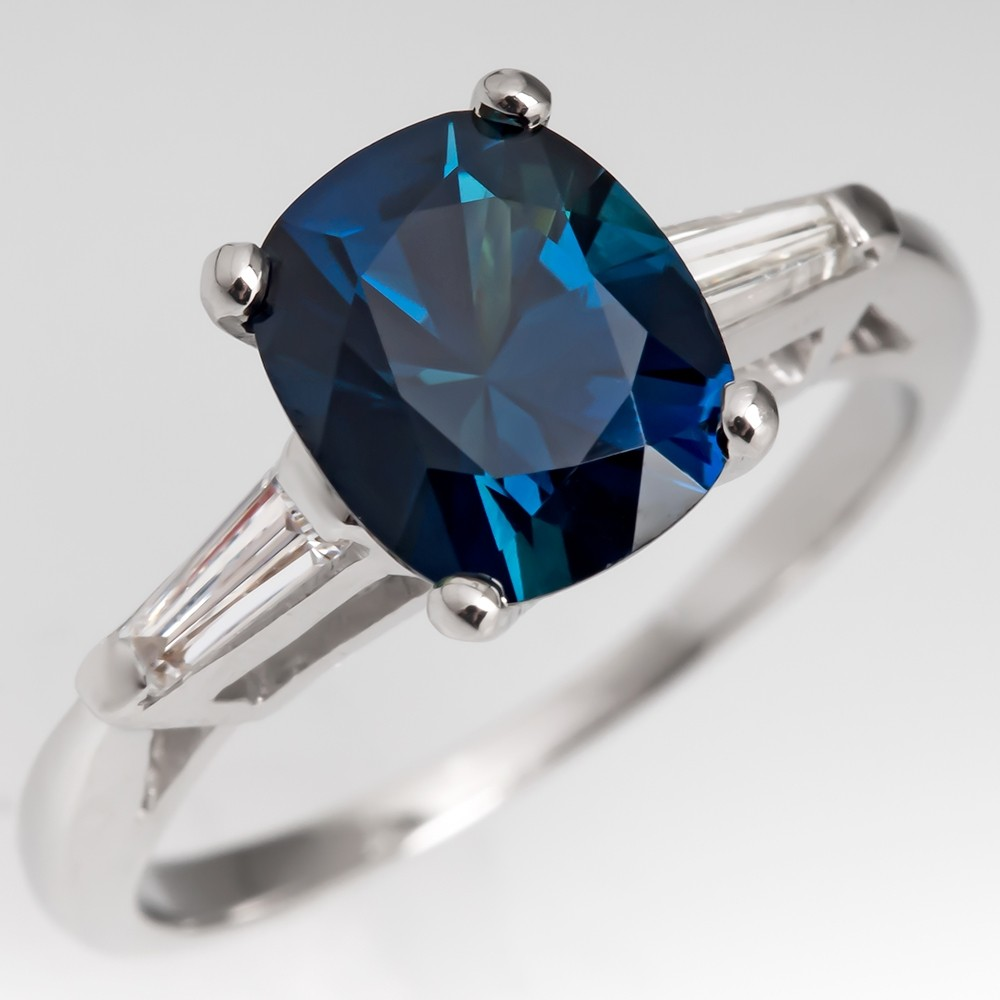 No Heat 2.9 Carat Blue Green Sapphire Engagement Ring 1960's Platinum Mount