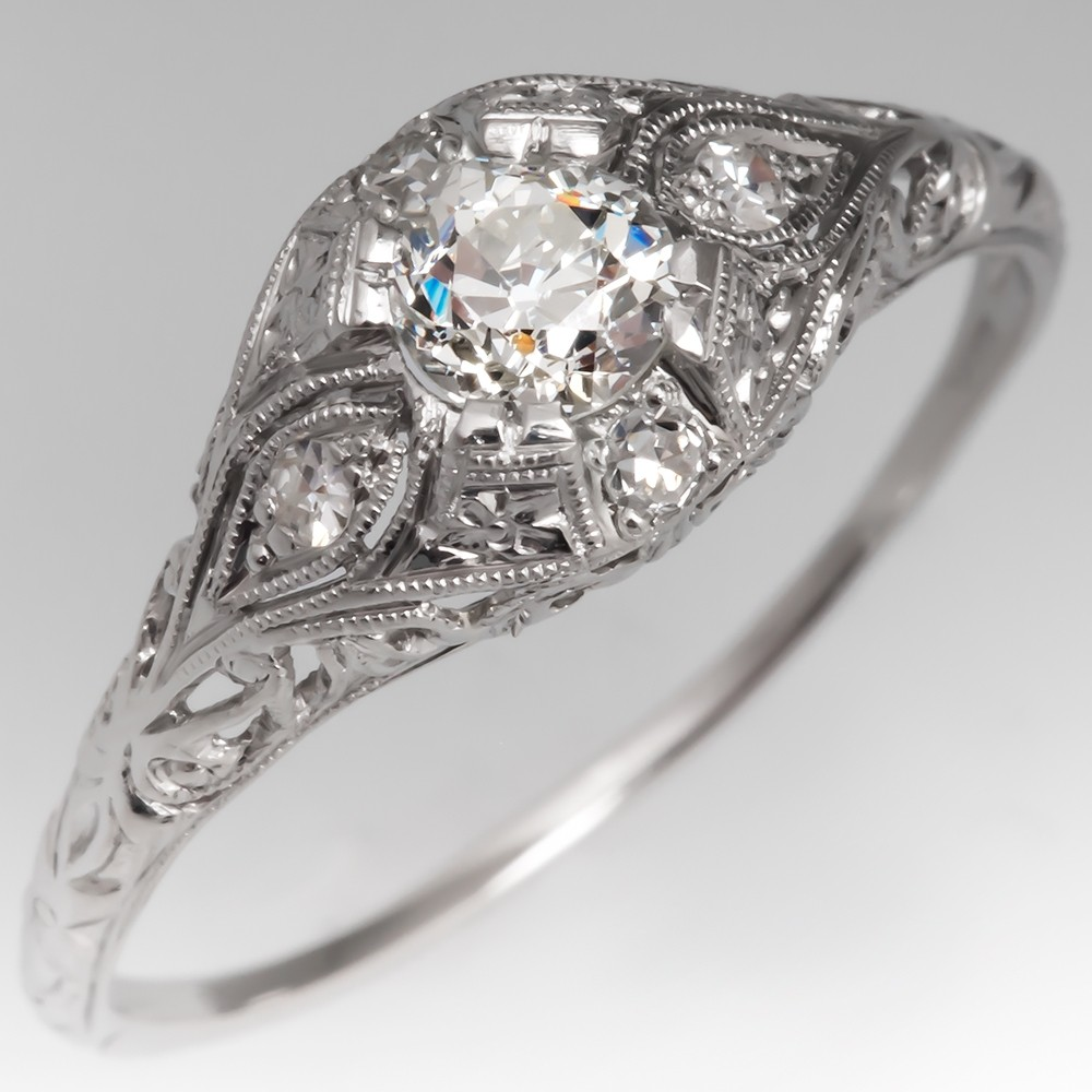 Filigree Engagement Ring .45CT Old Euro Diamond Platinum