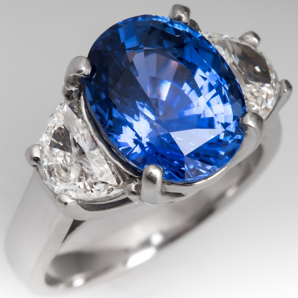 Natural No Heat Sri Lanka Origin Sapphire & Half Moon Diamond Ring Platinum AGL