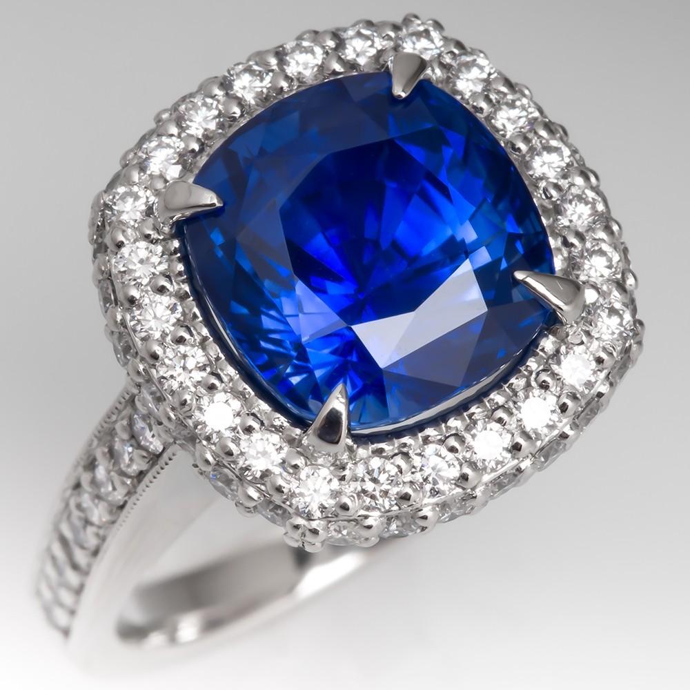 Magnificent Cushion Cut Blue Sapphire & Diamond Ring Platinum