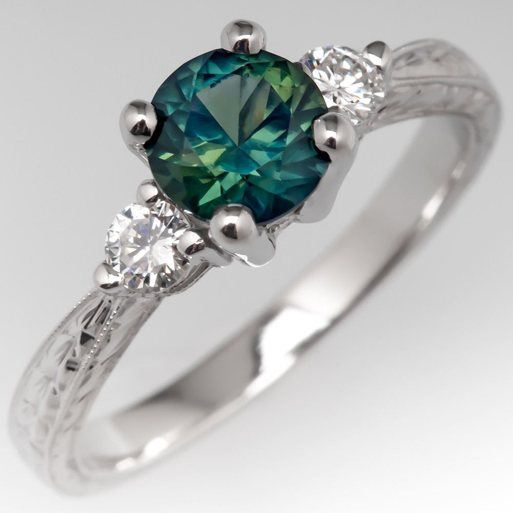 No Heat Green Sapphire Three Stone Engagement Ring Engraved Platinum
