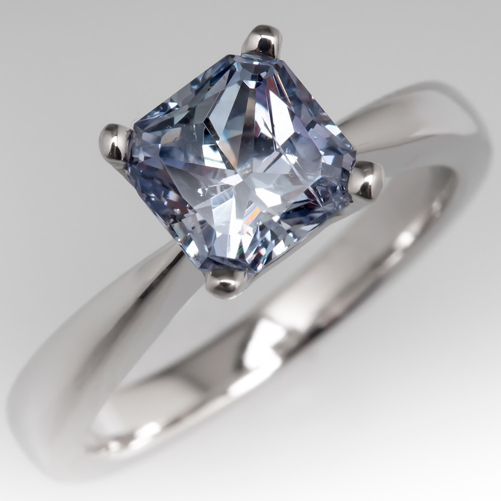 No Heat Montana Sapphire Solitaire Engagement Ring Platinum
