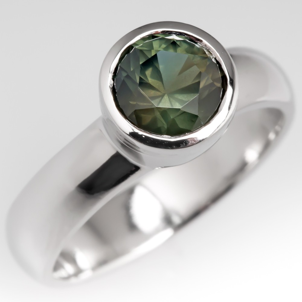 No Heat Yellow Green Sapphire Bezel Engagement Ring Platinum