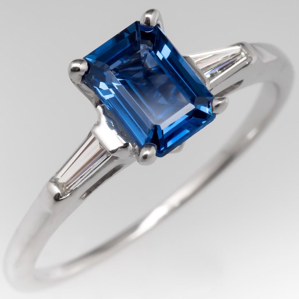 Emerald Cut No Heat Blue Sapphire Engagement Ring w/ Tapered Baguette Diamonds
