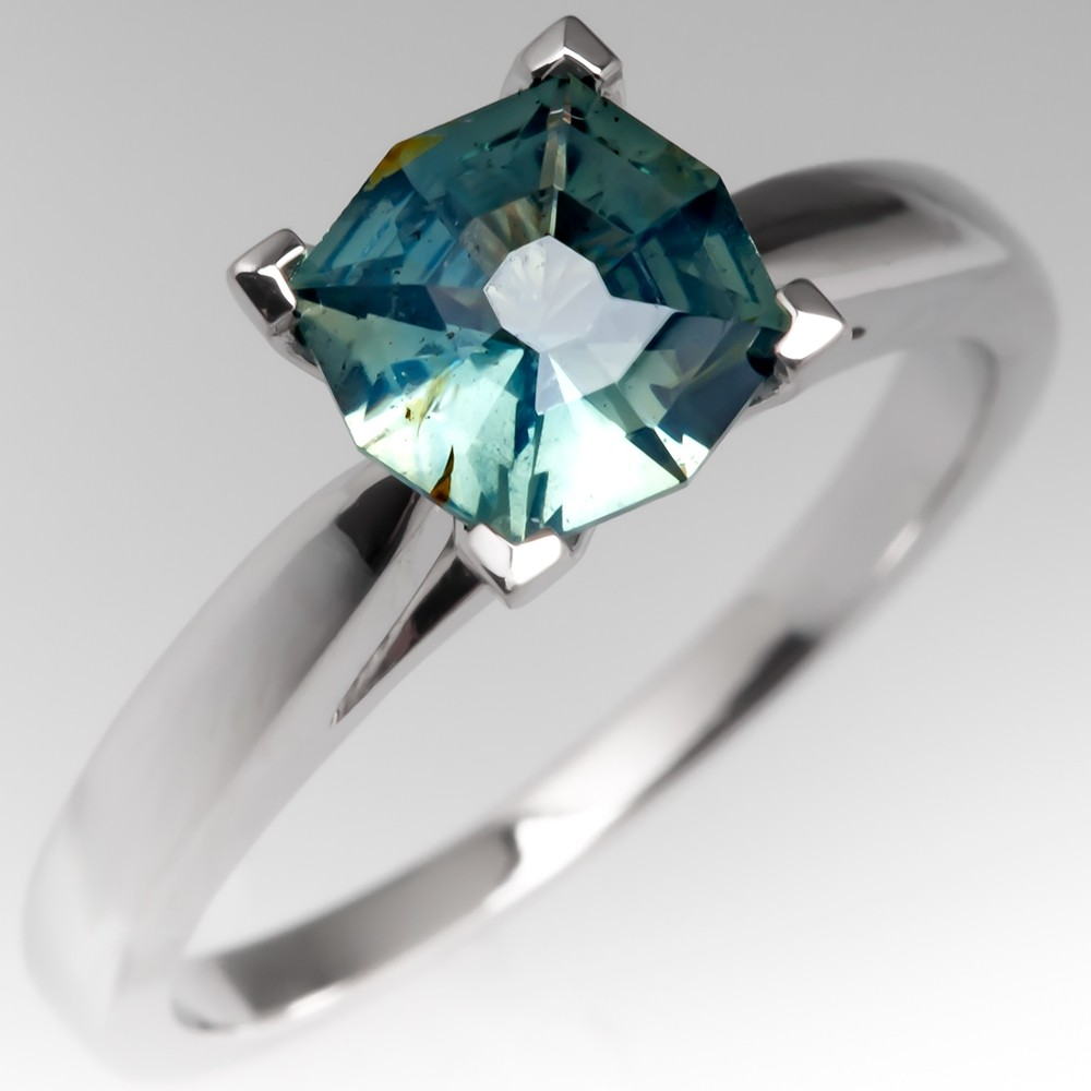 No Heat Light Blue Green Octagon Cut Sapphire Solitaire Engagement Ring 14K