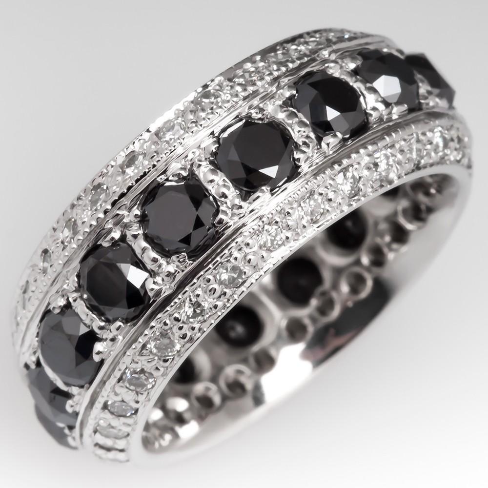 5.7 Carat Wide Band Black Diamond Anniversary Ring 14K Gold Size 8