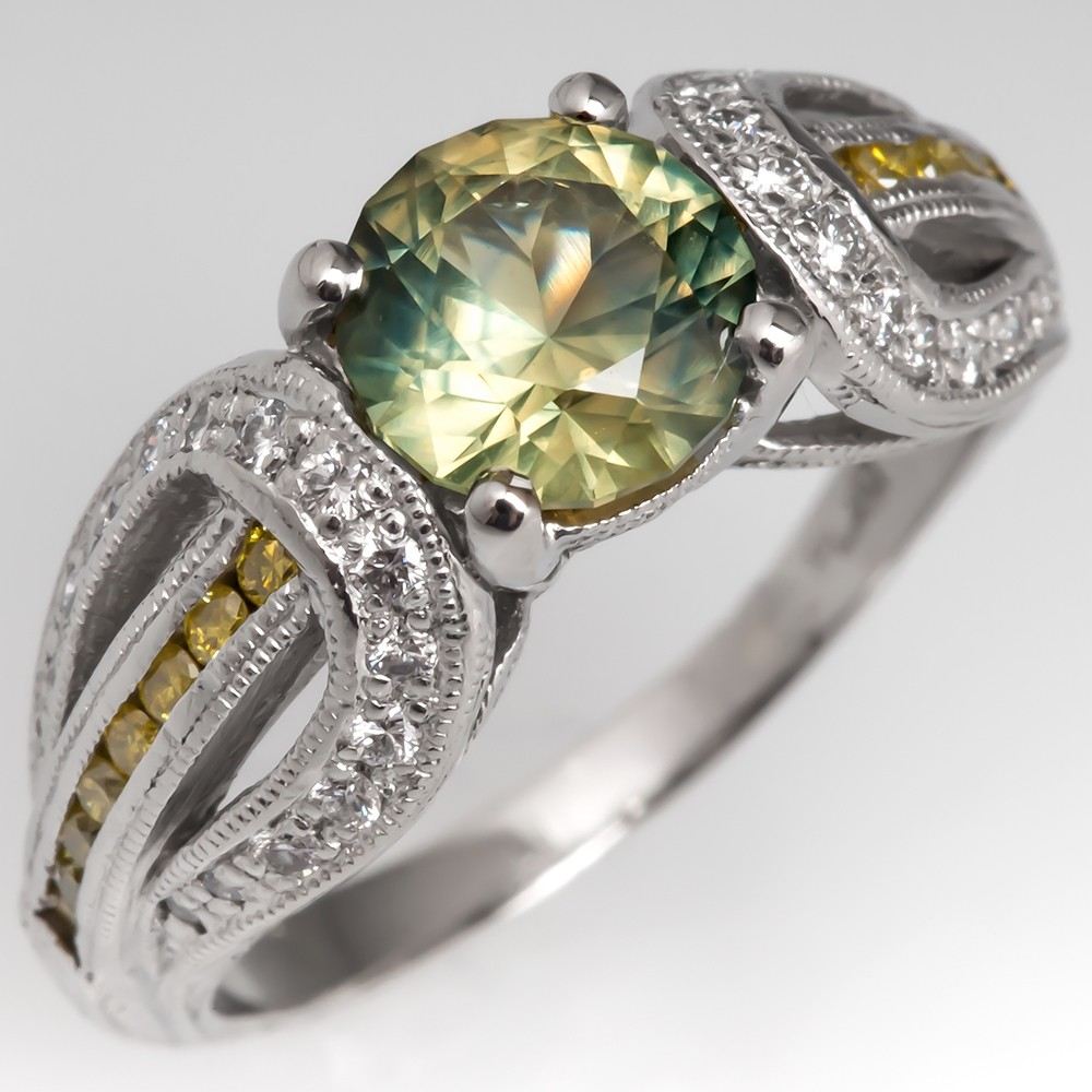 No Heat Greenish Yellow Sapphire Engagement Ring Platinum Engraved