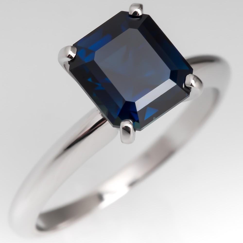 2.8 Carat Emerald Cut Dark Blue Green Sapphire Engagement Ring 14K