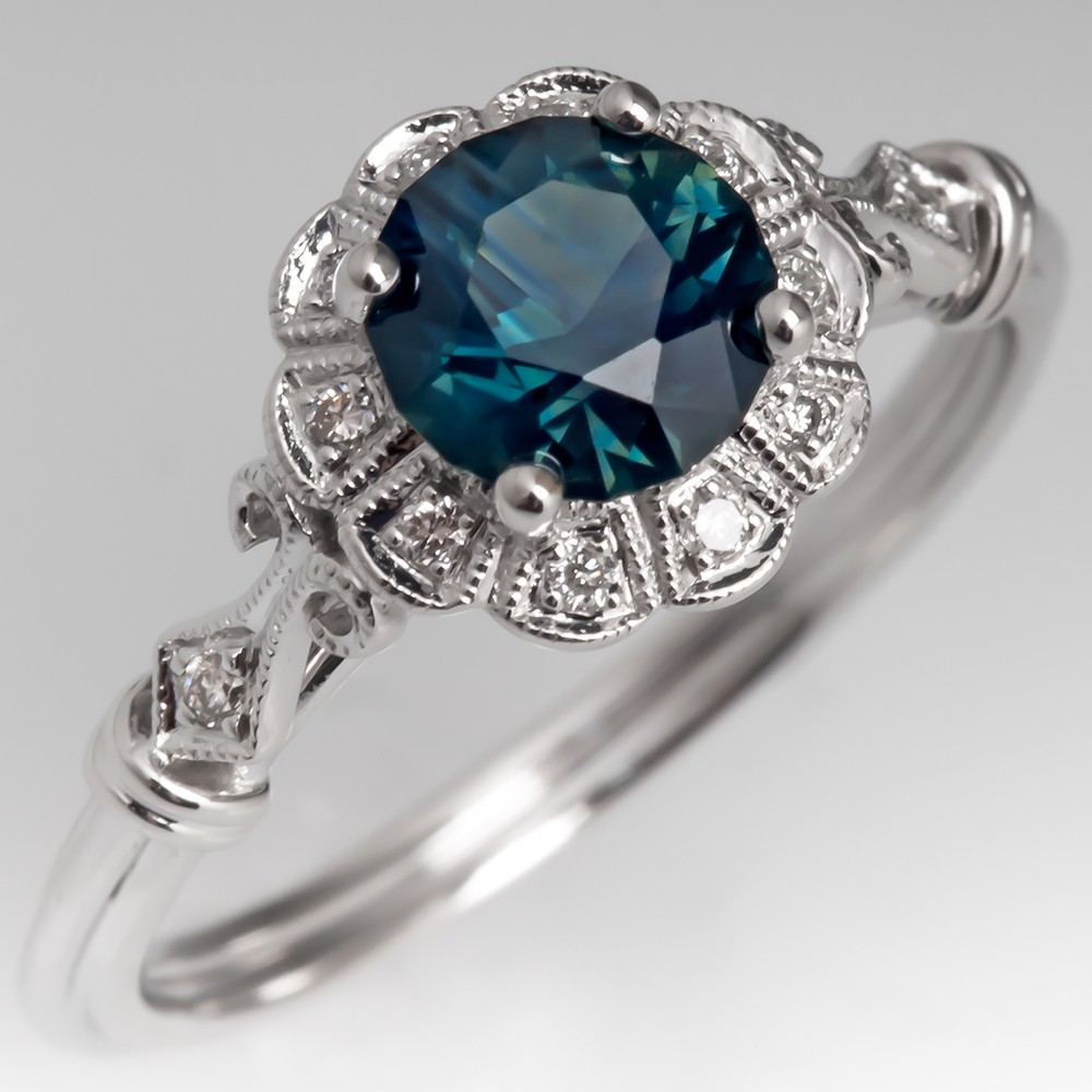 No Heat Dark Blue Green Sapphire Engagement Ring Detailed Halo 14K