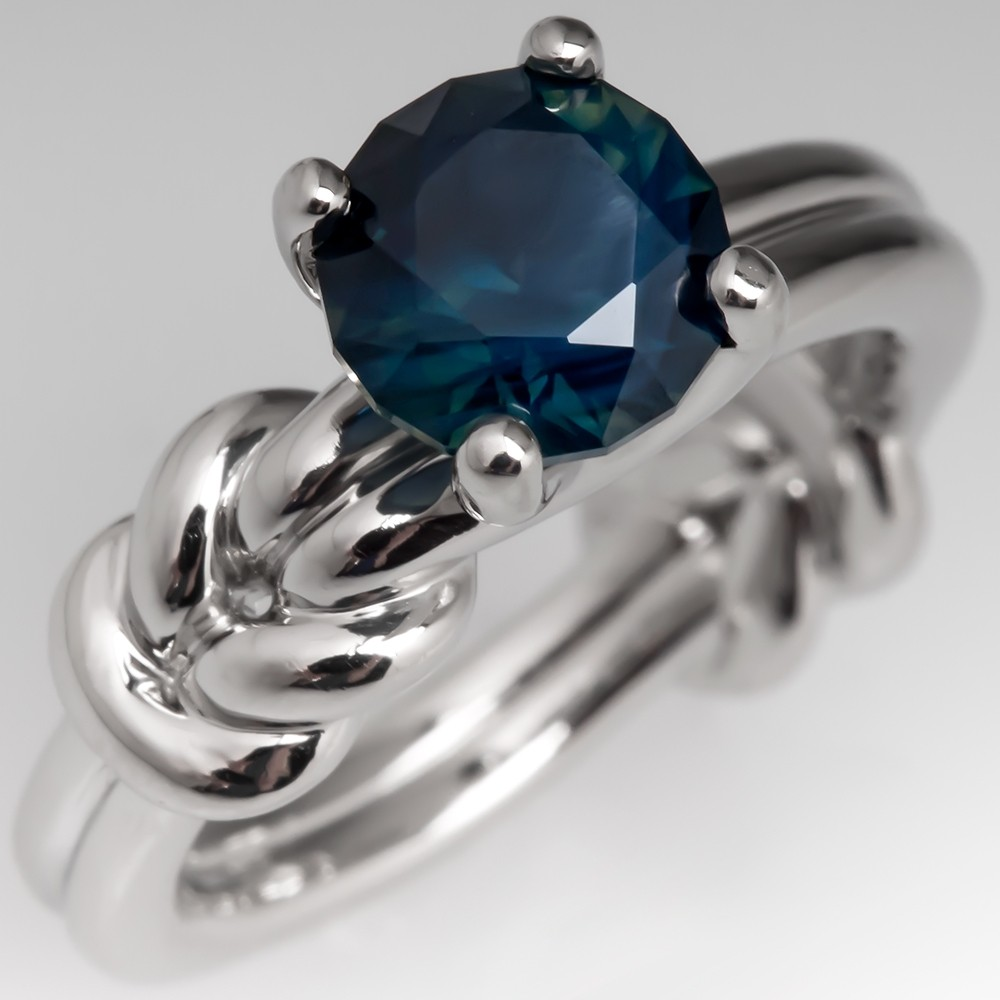 Platinum No Heat Dark Blue Green Sapphire Solitaire Ring Knot Design