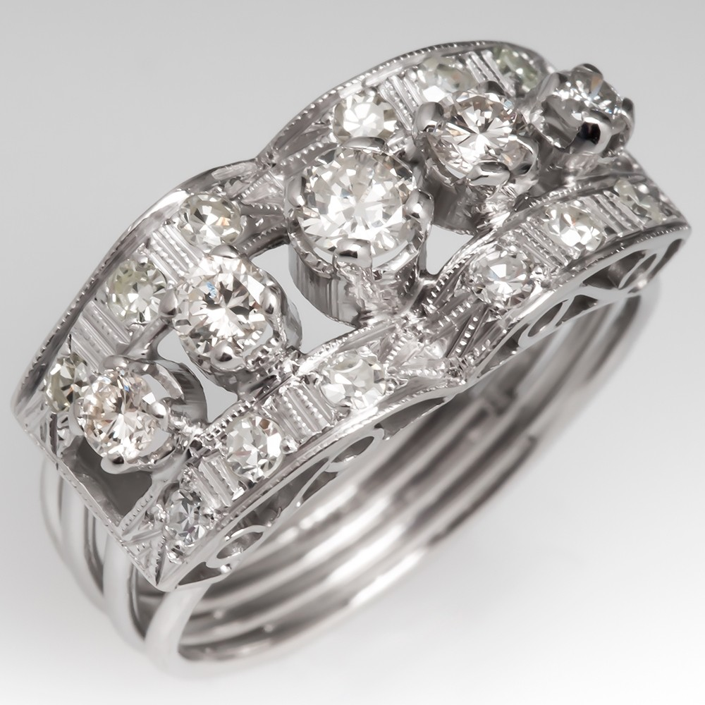 Retro Vintage Platinum Diamond Right Hand Ring