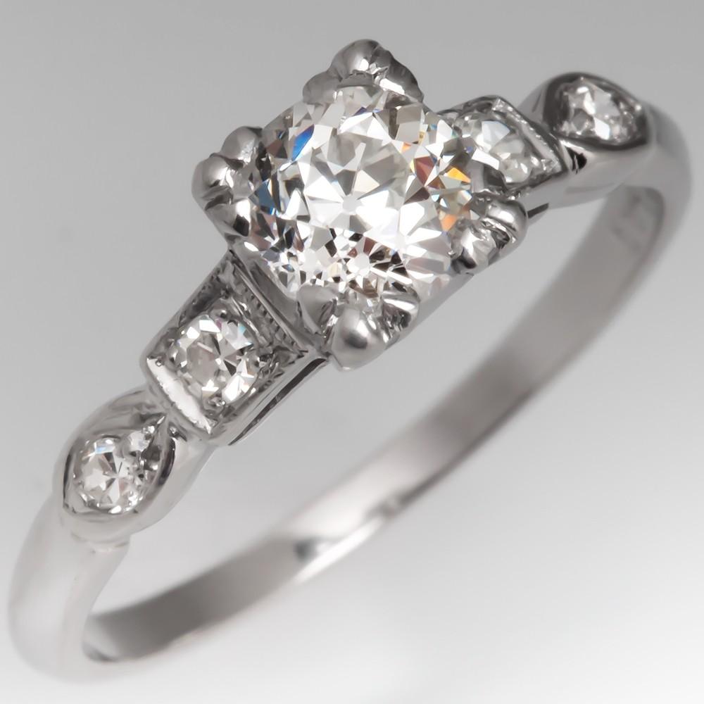 1920's Antique Engagement Ring 1/2 Carat Old Euro Diamond Platinum