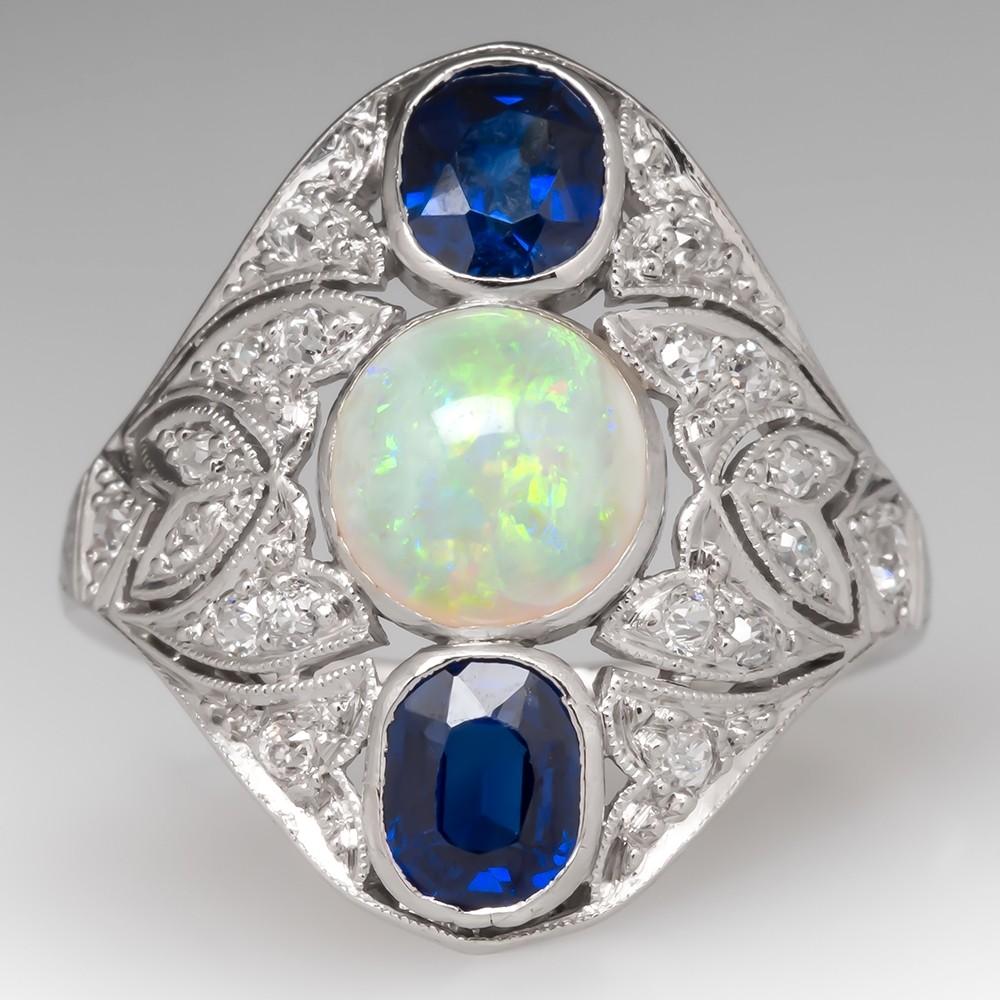 Art Deco Opal Sapphire & Diamond Filigree Platinum Ring