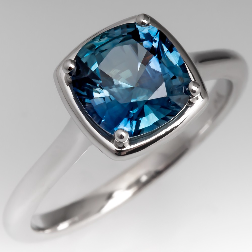 Icy Blue Green Sapphire Solitaire Engagement Ring 14K White Gold