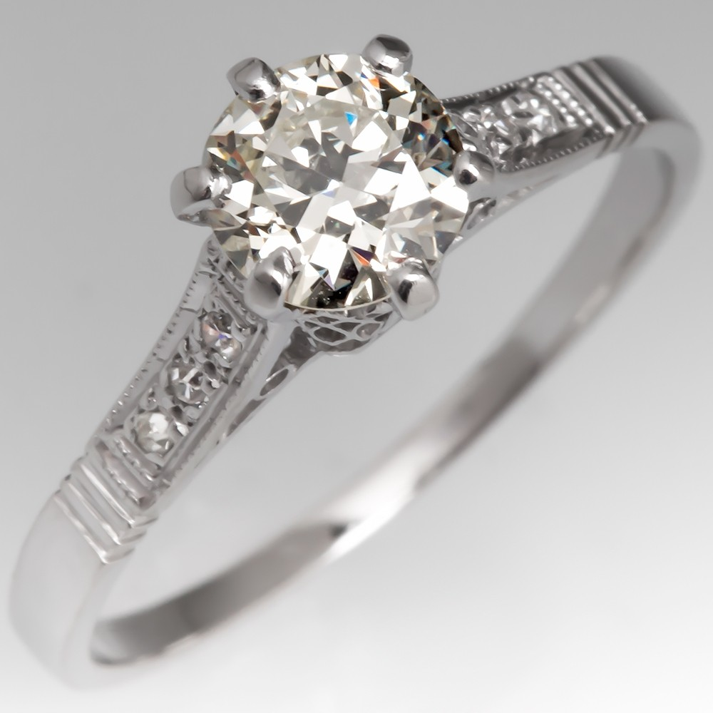 3/4 Carat Old Euro Diamond Antique Engagement Ring Platinum