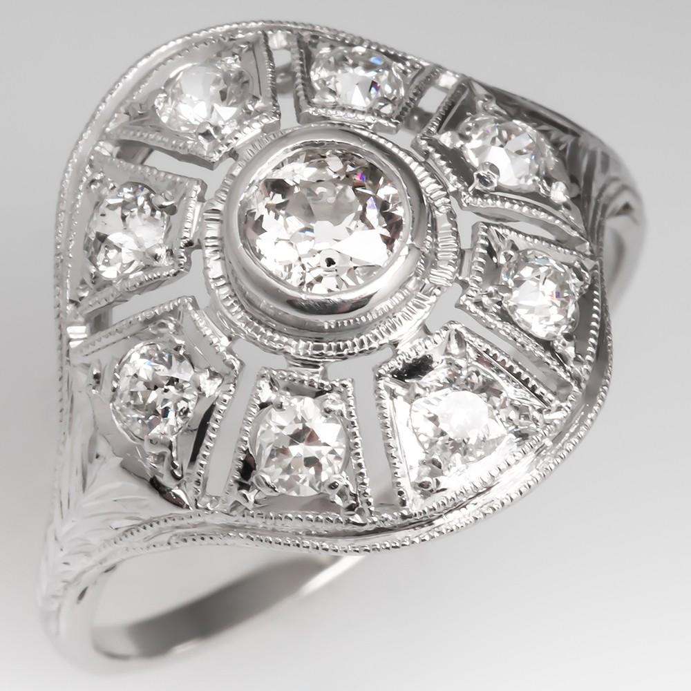 Antique Openwork Filigree Old Euro Diamond Ring 1920's Platinum