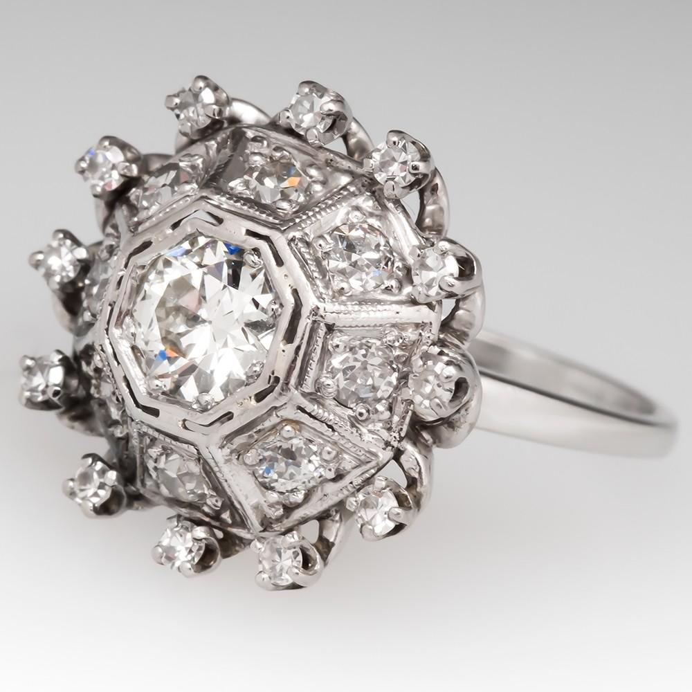 Old European Cut Diamond Geometric Cocktail Ring 14K White Gold