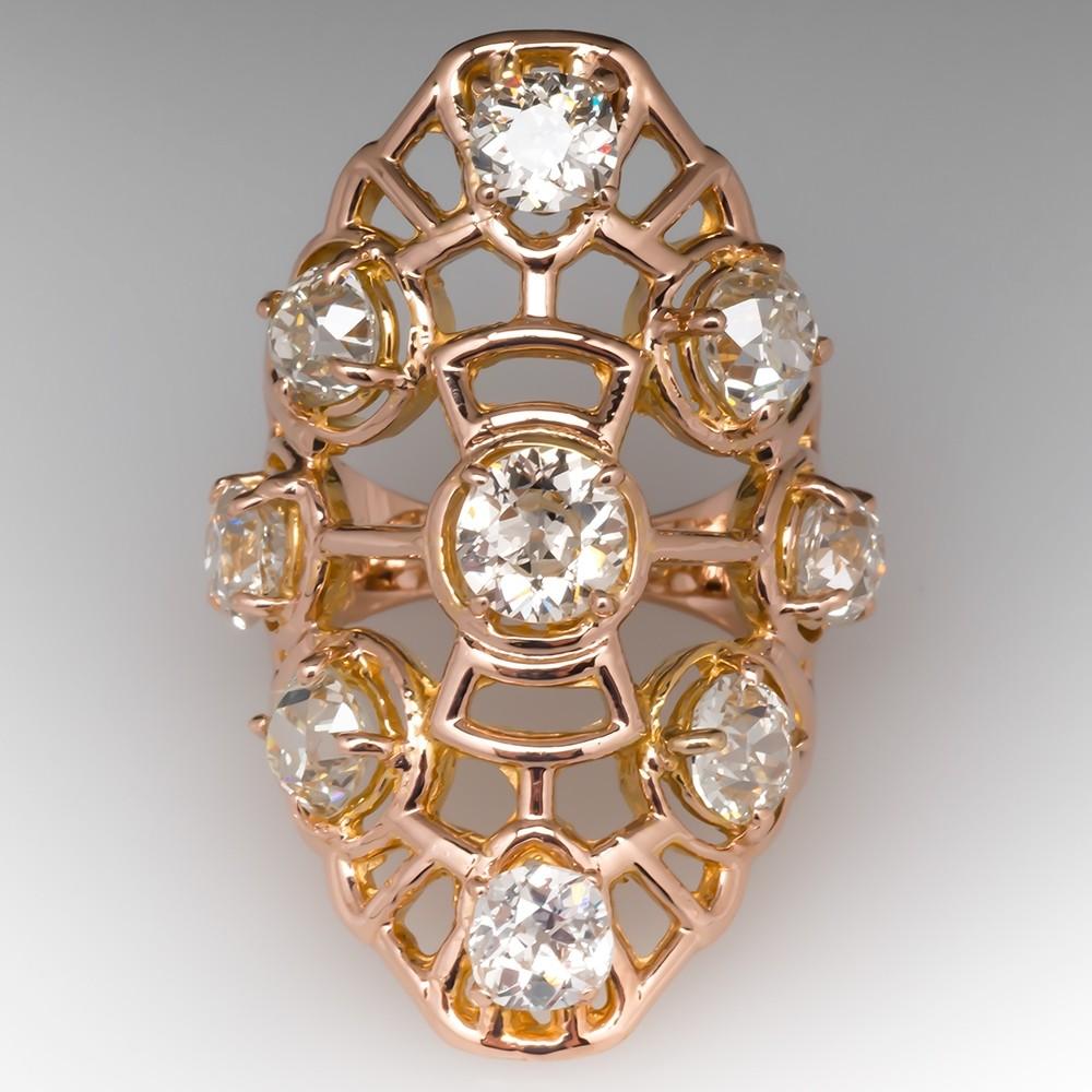 6CTW Old Euro & Mine Cut Diamond Vintage Cocktail Ring