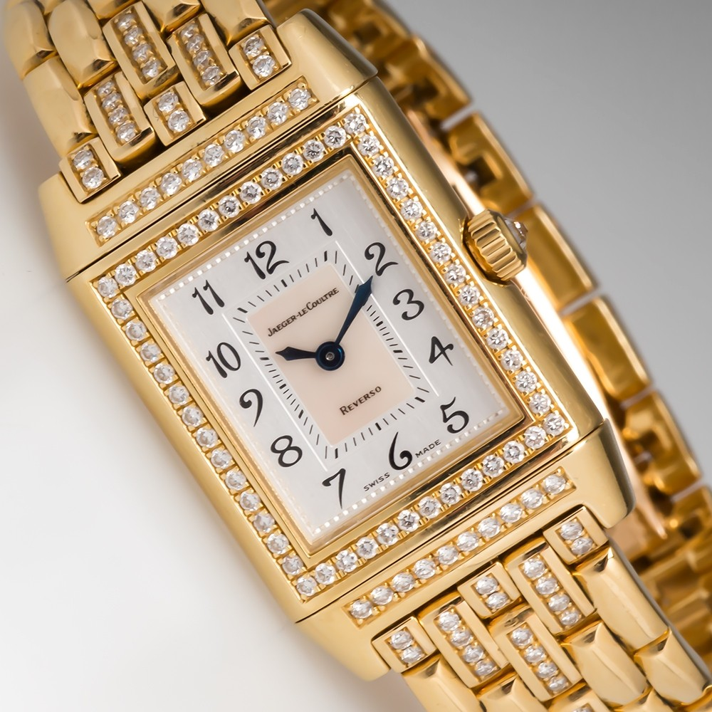 Jaeger LeCoultre Reverso Duetto Ladies Watch 18K Gold & Diamonds Model 266.1.44