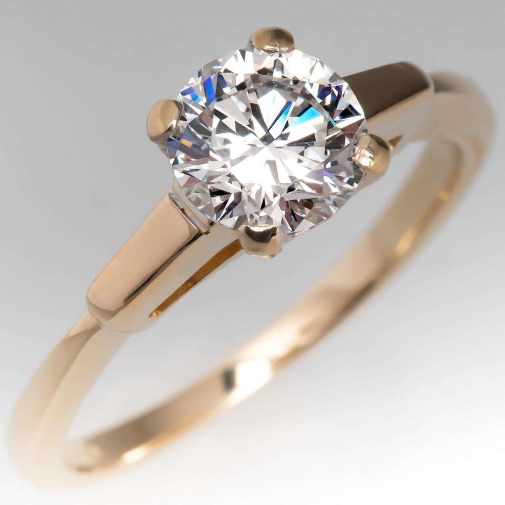 GIA G/VS1 .91CT Round Brilliant Diamond Engagement Ring 18K Gold